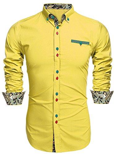 Burlady Herren Langarmhemden Hemden für Männer Businesshemd Paisley Langarm Shirts - XXL , gelb