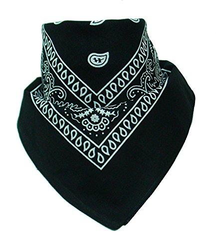 Boolavard Bandana Kopftuch Halstuch - gemustert: Paisley Muster - 100% Baumwolle! (Schwarz) (Bandana)