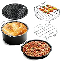 Universal Air Sartén Accesorios Set De 5, Pizza Pan Cake Barrel Skewer Rack Silicone Mat