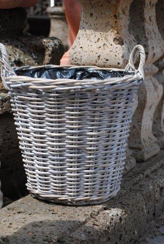 Kunert-Keramik Weidenkorb,sehr stabil,bepflanzbar,naturbelassen,39cm