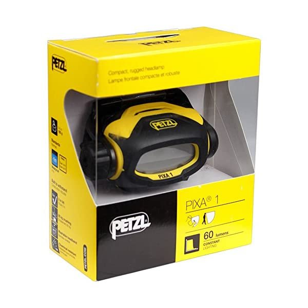 Petzl E78AHB 2 PIXA 1 Headlamp, Suitable for Proximity Lighting with CONSTANT LIGHT Technology, 60 lm, Black/Yellow