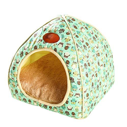 Tianbin chiuso nido di animali domestici autunno e inverno moda pieghevole casa del gatto (verde, xl)