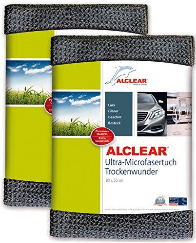 ALCLEAR 2er Set Auto Microfasertuch Trockenwunder für Autopflege, Autolack, Motorrad, Küche u. Haushalt - Microfaser Geschirrtuch - weiches Trockentuch - 80x55 cm grau