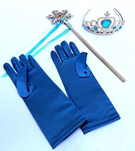 Brigamo 54180 - ❄ Elsa Kostüm Zubehör, Eisprinzessin Verkleidung Fasching Set bestehend aus funkelndem Diadem, Handschuhe, Zauberstab ❄ (Sofia Die Erste Handschuhe)