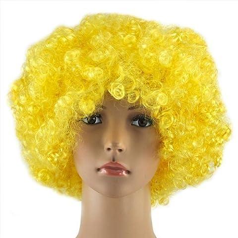 Accessotech bouclé Déguisement Afro Perruques Funky Disco Clown Style Pour Hommes/Femmes déguisement 70s Cheveux - Jaune, Taille unique