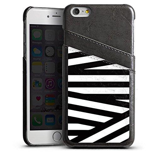 Apple iPhone 5s Housse Outdoor Étui militaire Coque Lignes Noir et blanc Motif Étui en cuir gris
