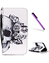 Samsung Galaxy S6 Edge Plus Funda,EMAXELERS Moda Synthetic PU Cuero Billetera Iman Design Flip Stand Funda Cover Para Samsung Galaxy S6 Edge Plus + Send 1 Stylus Pen(Skull)