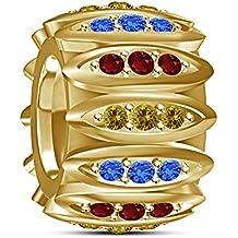 Lilu gioielli rotonda multicolore CZ Bracciale da donna Disney Princess Belle charm per Pandora e (Orecchini Gioielli Chamilia)