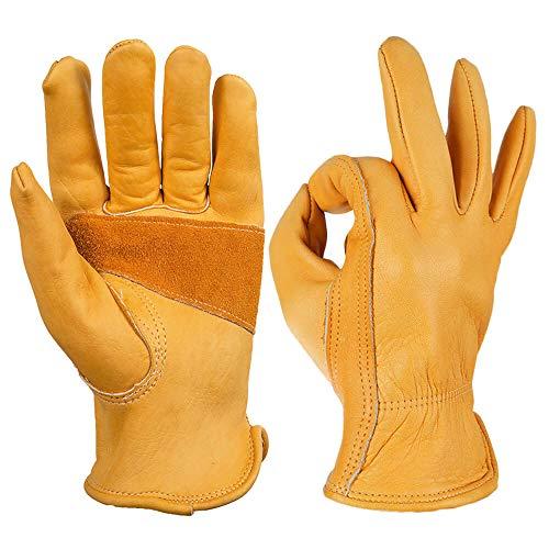 OZERO Arbeitshandschuhe,Lederhandschuhe zum Arbeiten, Gartenarbeit,1 Paar -