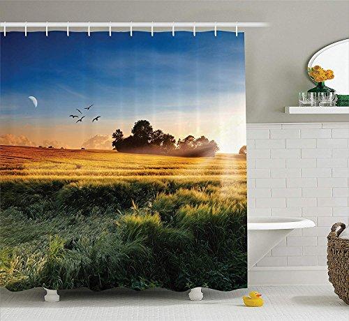 SRJ2018 Natur Landschaft Dekor Sammlung Foto von den Wiesen im Wind Morgen mit Mond und Himmel Landcape Pastorale Deco HomeBad Duschvorhang Long Multi Wiese-sammlung