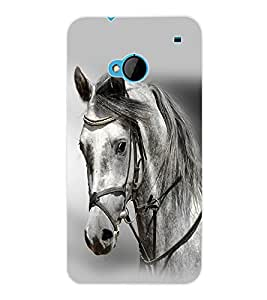 ColourCraft White Horse Back Case Cover for HTC ONE M7