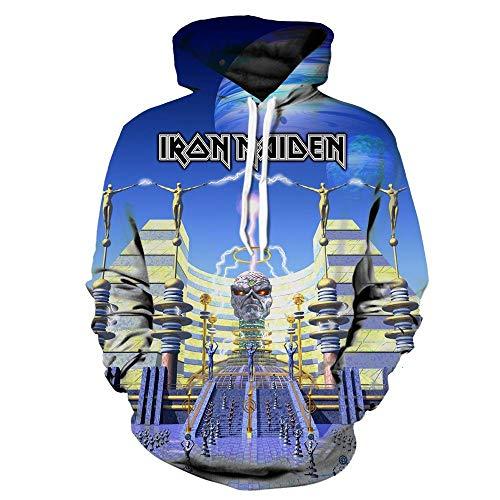 Kapuzenpullover,Iron Maiden Unisex 3D Cartoon Neuheit personalisierte Sweatshirt Pullover mit Kapuze Freizeit Hoodie @ Anime_L -