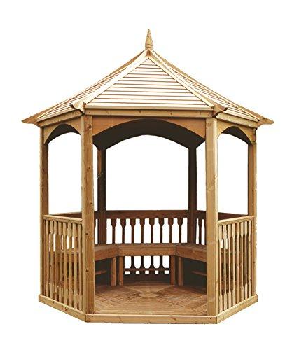 Kiosque Debussy en bois hexagonale avec toit en bois