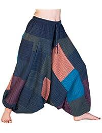 Panasiam© Aladdinhose, Unifarben oder Patchwork, 100% freshrunk Baumwolle, für Sie & Ihn, passt S bis L, mit einer Tasche