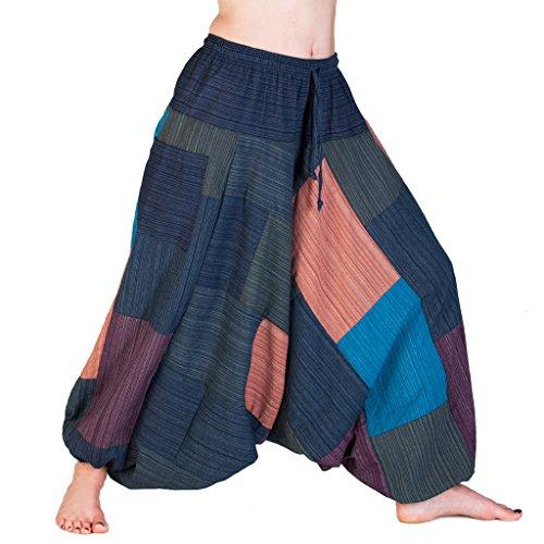 PANASIAM Aladin Pants 'Linie',Patchwork Blaunton