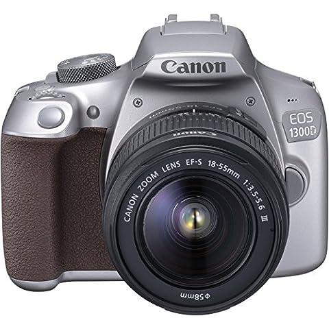 Canon 1744l50d-c011EOS 1300d–Cámara réflex digital (18Mpx, sensor CMOS APS-C, WiFi con NFC, Full HD) Kit con EF-S 18–55mm Lente Plata