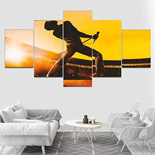ucke 5 Teilig Hd Freddie Mercury Music Star Leinwand Malerei Wandkunst Wohnkultur Für Wohnzimmer Drucke-A Rahmenlos ()