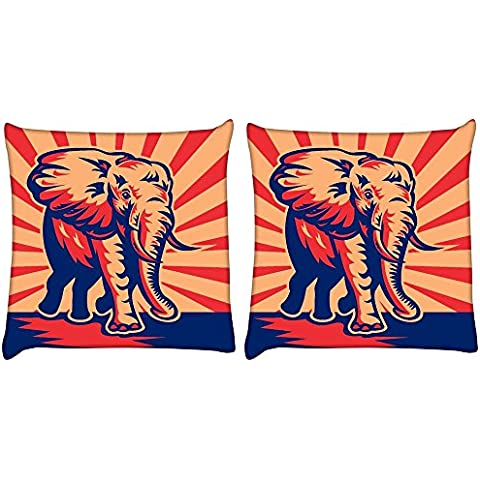 Snoogg Confezione da 2 Elefante africano Bull Charging Cuscino stampati in digitale copertura del cuscino 12 x 12 pollici
