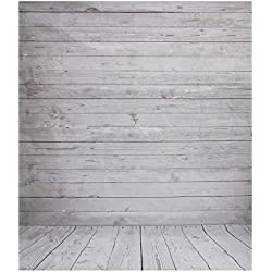 Pano de fondo - SODIAL(R)2 x 1.5m Pano de fondo de foto de pared de madera agrisada de vendimia de suelo de estudio