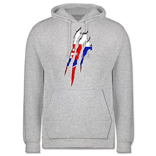 Länder - Slowakei Krallenspuren - Männer Premium Kapuzenpullover / Hoodie Grau Meliert