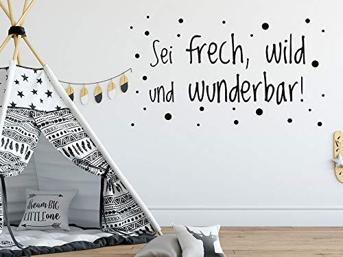 GRAZDesign Sei frech und wild und wunderbar Wandtattoo, Spruch für Kinderzimmer oder Jugendzimmer, Motivation an die Wand, für Jungs oder Mädchen / 70x40cm / 042 Flieder