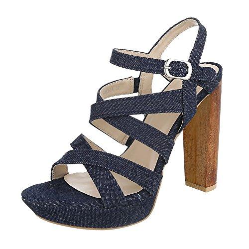 High Heel Sandaletten Damenschuhe Plateau Pump High Heels Schnalle Ital-Design Sandalen / Sandaletten Dunkelblau