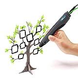 Amzdeal 3D Stift 3D Pen für 3D Kunstzeichnen Stereoskopisches Drucken, 3D Drucker Stift mit 2 x 1,75 mm PLA Filament, EU Adapter und USB-Kabel, das beste Weihnachtsgeschenk für Kinder (Schwarz)