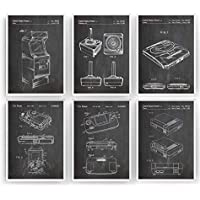 Consoles De Jeux Affiche De Brevet - Lot De 6 Affiches - Impressions Prints Art Vidéos Informatiques Gamer Gaming Patent Posters Poster Cadeaux Hommes Décor - Cadre Non Inclus