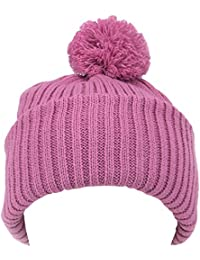 CHUNKY KNIT BOBBLE HAT SKI BEANIE Black, Purple, Cream, Light Pink & Dark Pink