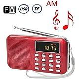 AM FM Radio portatil Medios digitales Boombox Altavoz Reproductor de música MP3 con linterna de LED de emergencia Soporte Puerto USB Ranura para tarjetas TF Enchufe de Jack para auriculares de 3.5mm (Rojo)