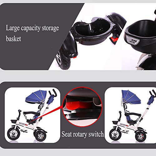 GSDZSY - 3 In 1 Children Tricycle Stroller 3 Wheel Bike,with Removable Push Handle Bar,Damping Rubber Wheel, Detachable Awning And Guardrail,6-72 Months,E  GSDZSY