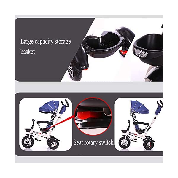 GSDZSY - 3 In 1 Children Tricycle Stroller 3 Wheel Bike,with Removable Push Handle Bar,Damping Rubber Wheel, Detachable Awning And Guardrail,6-72 Months,E GSDZSY  4