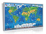 Pinnwand Kinder Weltkarte 90x60 cm mit Echt-Holz-Rahmen