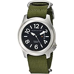 Momentum Steelix Men's Quartz Watch with Black Dial Analogue Display and Green Nylon Strap 1M-SP74B7G