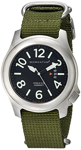 Momentum Steelix Men's Quartz Watch with Black Dial Analogue Display and Green Nylon Strap 1M-SP74B7G