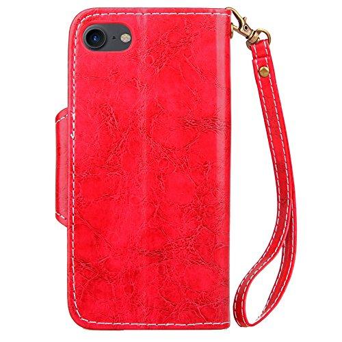 JAWSEU Coque Etui pour iPhone 7,iPhone 7 étui Folio en Cuir,iPhone 7 Flip Wallet Case Portefeuille Pu Housse de Protection,Retro Luxe Fermeture Magnétique Intense Pure Leather Pu Case Coque Ultra Slim rouge/en cuir