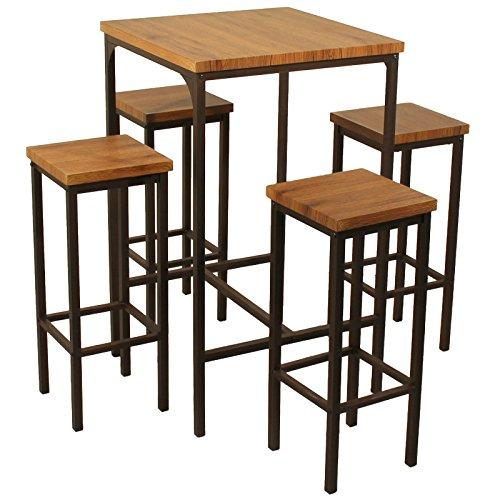 YELLOO Juego Mesa Bar Cuadrado y 4 taburetes marrón Nogal Mod. ROMA Mesa 66 x 66 x H110 CM