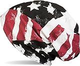 styleBREAKER Gorro tipo beanie, look Bandera Barras y Estrellas USA Vintage Destruido, beanie largo encorvado, Unisex 04024079, color:Negro-Blanco-Rojo
