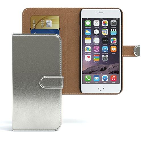 Apple iPhone 6S Plus / 6 Plus Tasche, EAZY CASE Book-Style Case Jeans, Premium Handyhülle mit Kartenfach, Schutzhülle Geldbeutel mit Standfunktion, Wallet Case in Hellgrau Metallic Silber