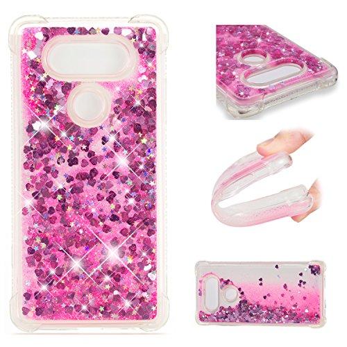 Cozy Hut LG V30 Hülle, Glitzer Flüssig Treibsand Handyhülle Glitter Quicksand Transparent Silikon Weich TPU Bumper Case Schutzhülle für LG V30 - Pink Love