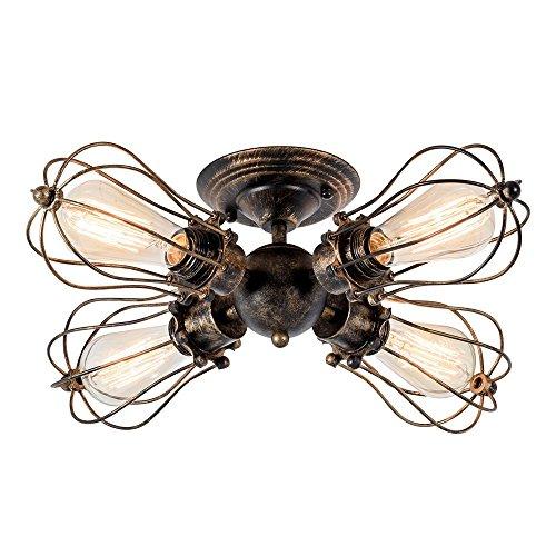 Retro ceiling light vintage style industrial semi flush mount indoor retro ceiling light aloadofball Choice Image