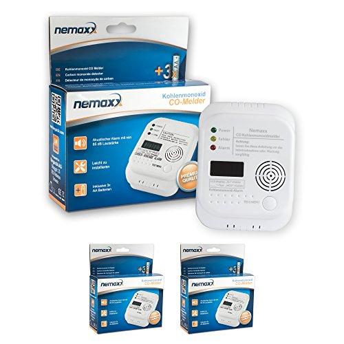 2x Nemaxx Co Melder - intelligenter Kohlenmonoxid Sensor, batteriebetriebener Warner und Alarm mit Digitalanzeige - nach DIN EN50291