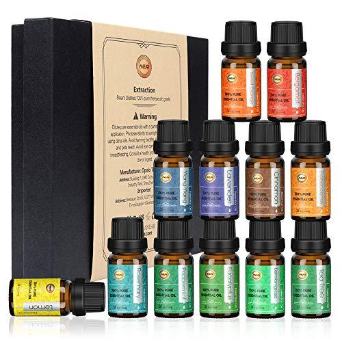 Anear ätherische Öle Geschenkset (12 x 10 ml), ätherische Öle, Teebaum, Zitronengras, Lavendel, Eukalyptus, Süße Orange, Zitrone, Pfefferminze, Bergamotte, Weihrauch, Rosmarin, Zimt und Ylang-Ylang) -