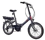Telefunken E-Bike Klapprad Elektrofahrrad Alu, grau, 7 Gang Shimano Kettenschaltung - Pedelec Faltrad leicht, 250W und 9 Ah/36V Lithium-Ionen-Akku, Reifengröße: 20 Zoll, Kompakt F800