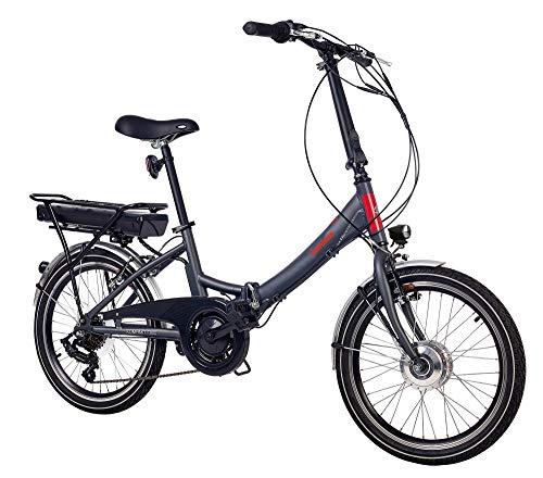 e bike mit mittelmotor und ruecktrittbremse Telefunken E-Bike Klapprad Elektrofahrrad Alu, grau, 7 Gang Shimano Kettenschaltung - Pedelec Faltrad leicht, 250W und 9 Ah/36V Lithium-Ionen-Akku, Reifengröße: 20 Zoll, Kompakt F800