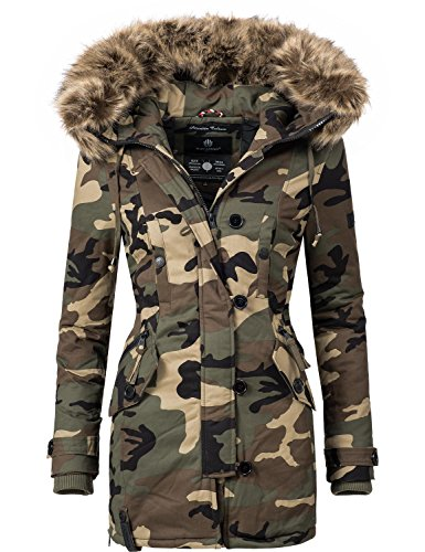 Navahoo Damen Baumwoll Winterparka Winterjacke Pauline (vegan hergestellt) Camouflage Gr. XL
