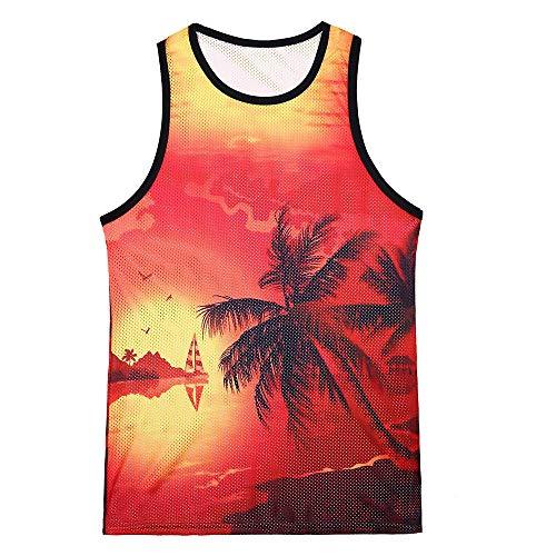 YCQUE Herren Unterhemden Mode Herren Surf Tanktops Lässig Gedruckt Hawaiian Scenery Schlank Oansatz Ärmellos Lose Atmungsaktiv Komfortable Tank Top Bluse - Hawaiian Gedruckt