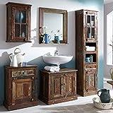 SIT-Moebel Badezimmer Set mit Schränken und Spiegel Shabby Chic Altholz Bunt Sankosh