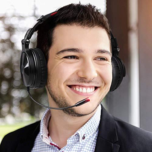 OneOdio Bluetooth Kopfhörer, Kabellos Over Ear Headset mit abnehmbare Mikrofon & Dual 50mm Treiber, 30 Stunden Spielzeit, DJ Kopfhörer (mit abnehmbare Mikrofon, Schwarz Rot) - 8