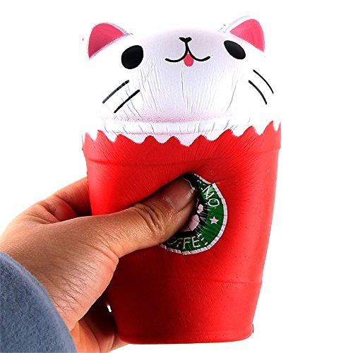 Stress Kaffeebecher (C'estTT, Anti-Stress-Spielzeug, weicher Kaffeebecher zum Zusammendrücken, mit Quietsche, dehnt sich nach dem Zusammendrücken langsam wieder aus, duftend)
